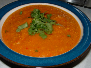 Vegetable red lentil soup